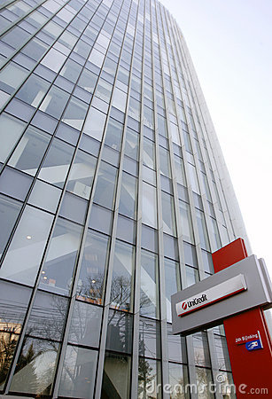 Unicredit Bank headquarters in Bucharest Editorial Stock Photo