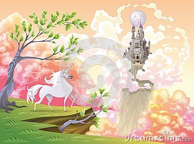 Unicórnio e paisagem mitológica