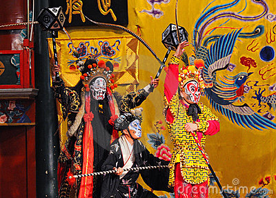 Unidentified actors of the Beijing Opera Troupe Editorial Photo