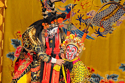 Unidentified actors of the Beijing Opera Troupe Editorial Stock Photo