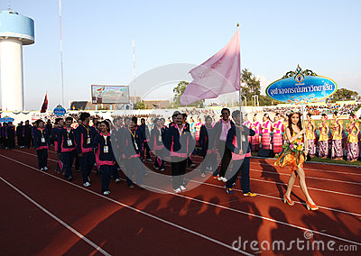 Unidentified beautiful holding a sign of Chulalongkorn University in 40th Thailand University Games Editorial Image