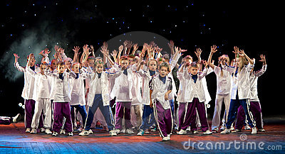 Unidentified children from dancing group Belka Editorial Photography