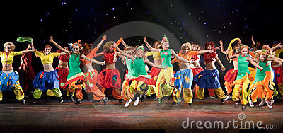 Unidentified children from dancing group Belka Editorial Photo