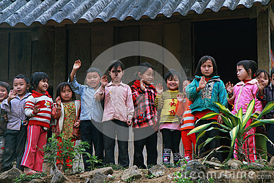 Unidentified children in a shool Editorial Photography