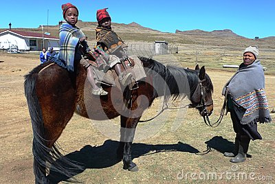 Unidentified  family at Sani Pass, Lesotho Editorial Photo