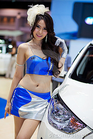 Unidentified female presenter at Hyundai booth Editorial Photography