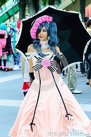 An unidentified Japanese anime cosplay pose in Japan Festa in Bangkok 2013. Editorial Image
