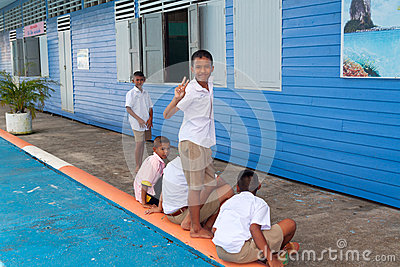 Unidentified kids in elementary school, Koh Panyee fisherman village of Phang Nga province Editorial Stock Image