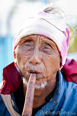 Unidentified Lahu tribe senior man Editorial Stock Photo
