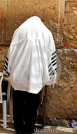 Free Unidentified Man In Tefillin  Praying At The Wailing Wall (Western Wall) Stock Image - 29806901