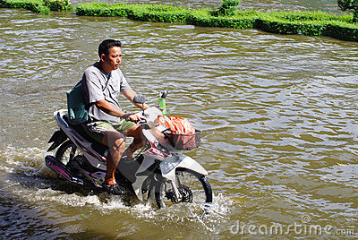 UNIDENTIFIED MAN RIDE THE MOTORBIKE Editorial Photography