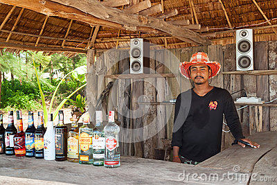 Unidentified man selling drinks on the local bar in koh kho khao island Editorial Stock Photo