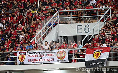 Unidentified Man Utd. supporters Editorial Photography