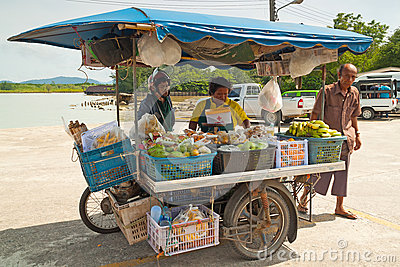 Unidentified people on the local market in Khao Lak Editorial Stock Image