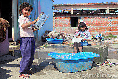 Unidentified Roma kids playing  Editorial Stock Photo