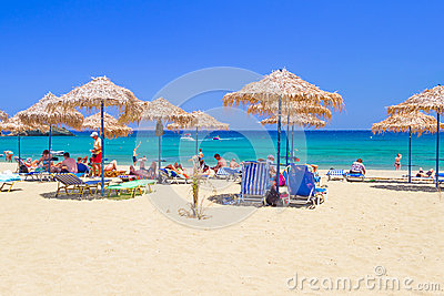 Relax on Vai beach of Crete, Greece Editorial Photography