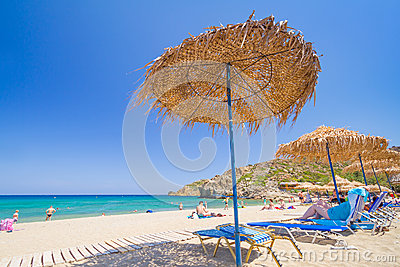 Relax on Vai beach of Crete, Greece Editorial Image