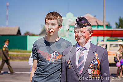 Unidentified veteran during the celebration of Victory Day. GOME Editorial Photo