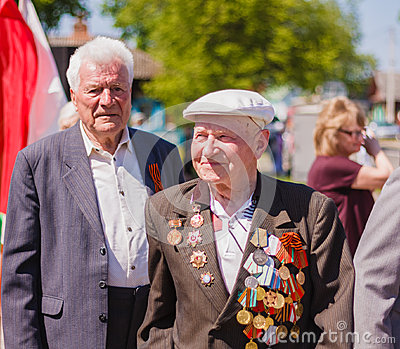 Unidentified veterans during the celebration of Victory Day. GOM Editorial Image