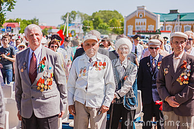 Unidentified veterans during the celebration of Victory Day. GOM Editorial Stock Image