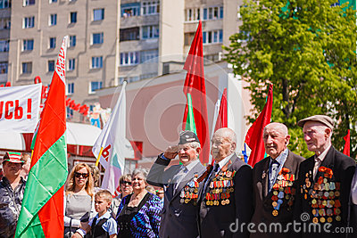 Unidentified veterans during the celebration of Victory Day. GOM Editorial Stock Photo