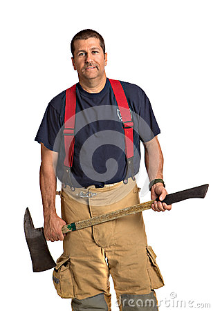 Uniformed Firefighter Holding Ax Standing Portrait