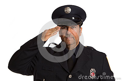 Uniformed Firefighter Salute Portrait on White
