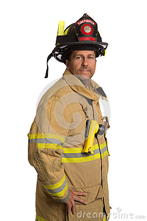 Uniformed Firefighter Standing Portrait