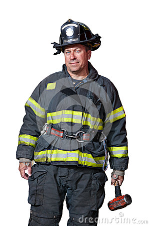 Uniformed Firefighter Standing Portrait Isolated