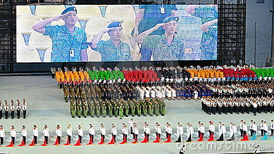 Uniformed groups standing at attention at NDP 2011 Editorial Photo