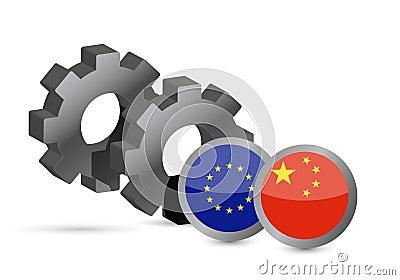 União Europeia e bandeiras chinesas no engrenagens