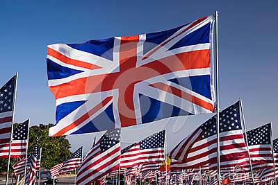 Union Flag among US flags