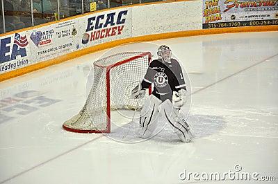 Union goalkeeper warmup in NCAA Hockey Game Editorial Image
