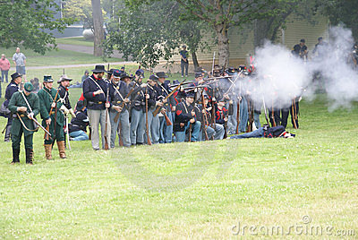 Union infantry line firing Editorial Stock Photo
