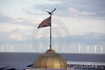 Union Jack against Wind power station