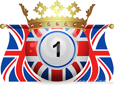 Union jack bingo ball with crown and flags