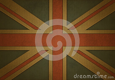Union jack on corrugated cardboard