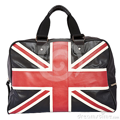 Union Jack Flag on black leather handbag