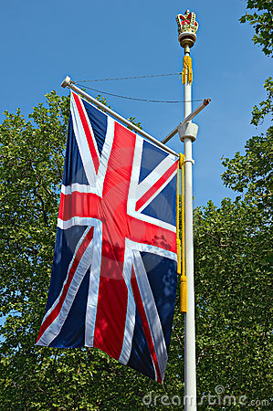 Union Jack flag, The Mall,  London, England, UK