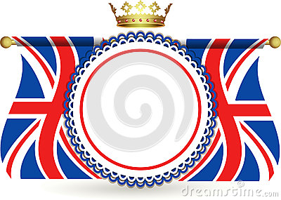 Union jack flags crown and rosette