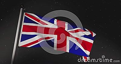 Union Jack Flying Mostra Bandeira Britânica Ou Bandeira Nacional Do Reino Unido - Vídeo De Movimento Lento De 30fps 4k filme