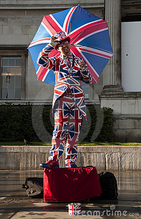 Union Jack human statue in London Editorial Photography