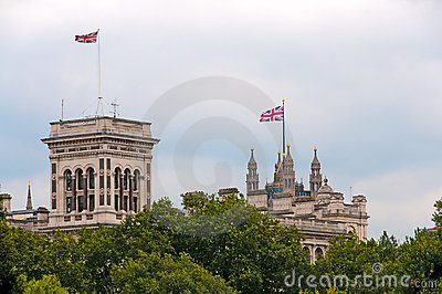 Union Jacks flags on buildings