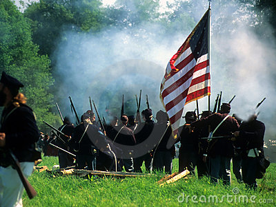 Union Line Preparing To Fire, Royalty Free Stock Photos - Image: 3428898