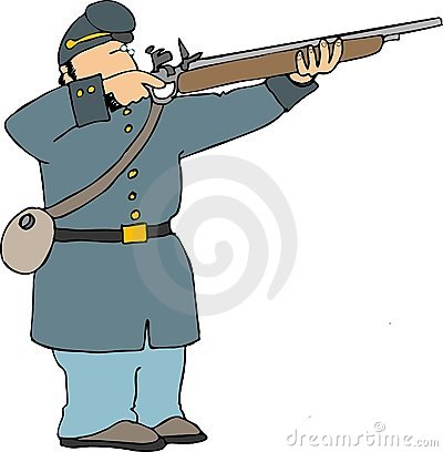 Union soldier shooting rifle