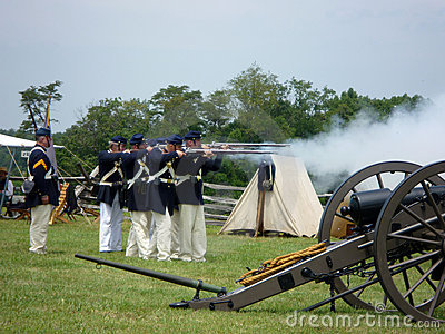 Union Soldiers Firing Their Weapons Editorial Image