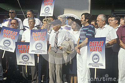Union workers protesting NAFTA Editorial Stock Image