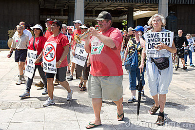 Union Workesr s Rights Supporters March w/Trumpet Editorial Stock Image