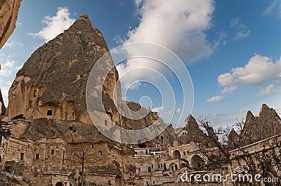 Unique ancient tuff stone cave village in Goreme C