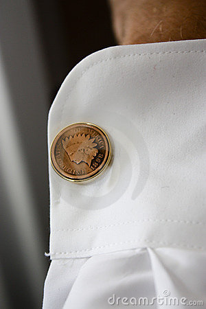 Unique cufflinks on groom